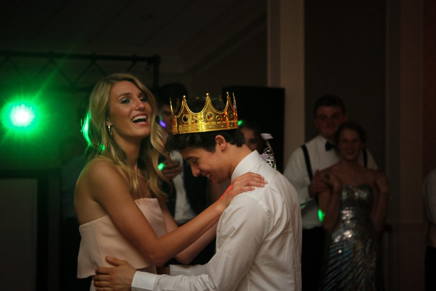 Emily Briggs and Santiago Noriega, Queen and King of senior prom - photograph by Tim Biondo