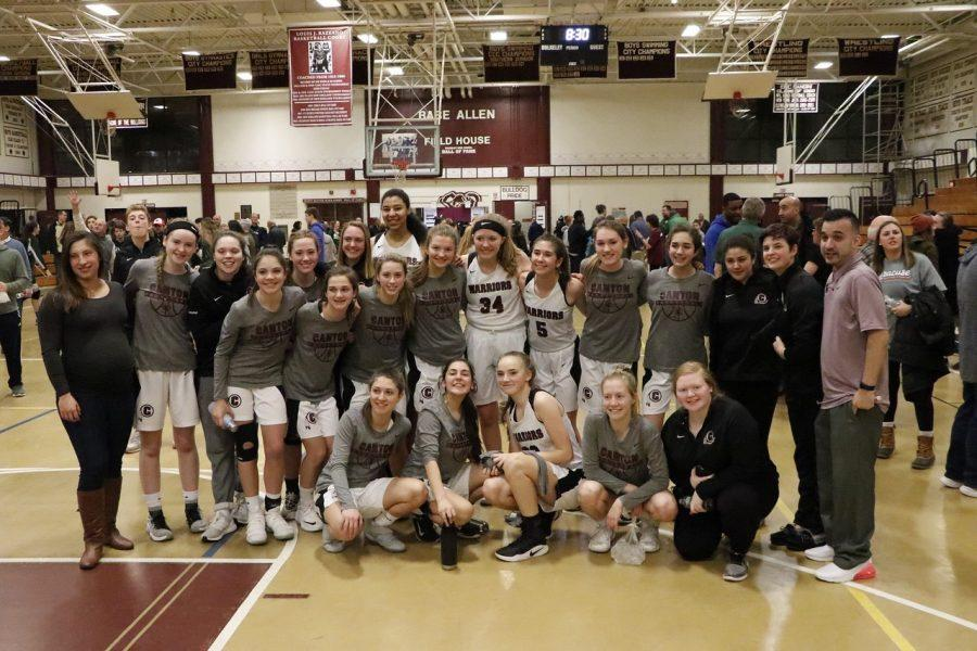 The Canton girls basketball team posed for a group shot at Buckley High School after the semifinals game against Northwest Catholic./Kellie Pesino