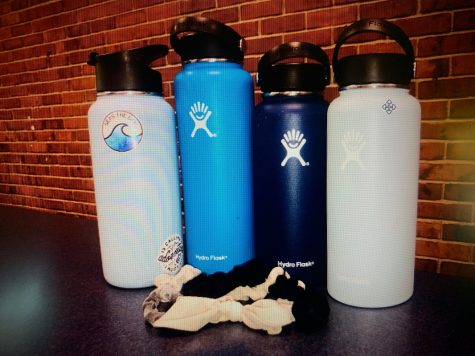 VSCO GIRL ALERT: Hydro flasks and scrunchies taken from the first table of girls in the Canton High School cafeteria. Abby Charron