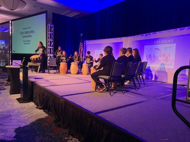 West African Drumming class playing at the CABE  convention. Rachel Antonucci
