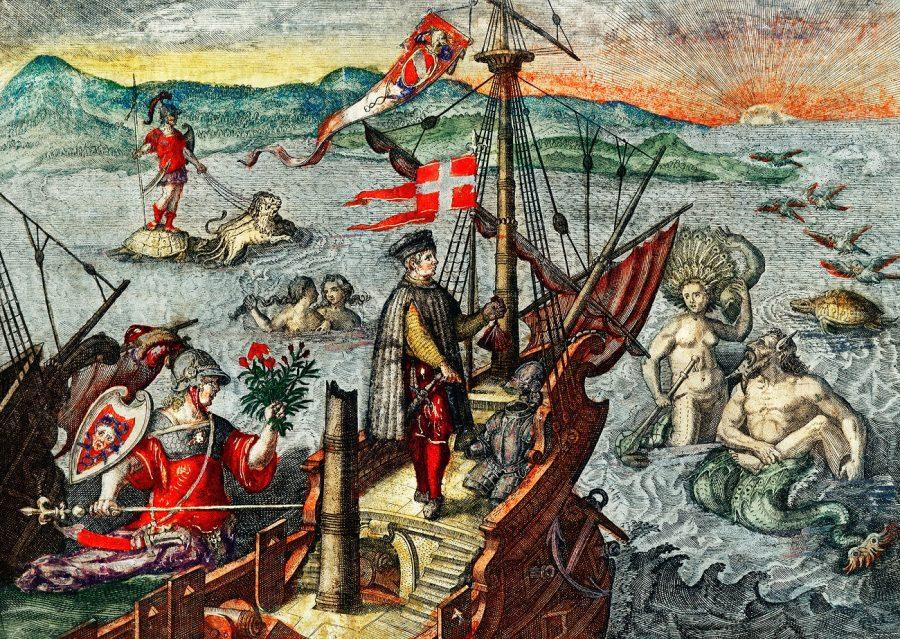 Many question whether Christopher Columbus truly represents Italian Americans, their history and community. Christopher Columbus illustration from Grand voyages (1596) by Theodor de Bry